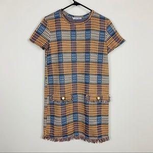 Zara Tweed Plaid Dress with Pockets